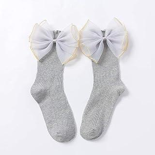 YXXB, YXXB 6 Pares de Calcetines de Princesa con Lazo de Organza, Calcetines Largos de algodón a la Moda para niñas y bebés, Calcetines Largos con Lazo Grande para niños-Gris A_M 3 a 5 años bebé