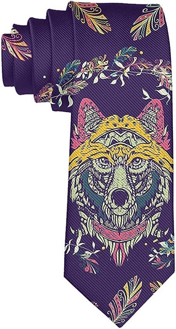 Men's Colorful Tribal Wolf Dream Catcher necktie Party Wedding Gentleman Bridegroom Groomsman Tie Gifts