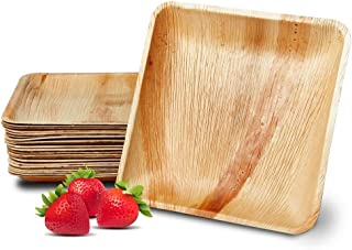 FHIL Disposable Palm Leaf Plates - Compostable, Biodegradable, All-Natural & Eco-Friendly Square Party Plates - Sturdy, Premium Quality Dinnerware, Environmentally Safe Alternative to Plastic & Bamboo