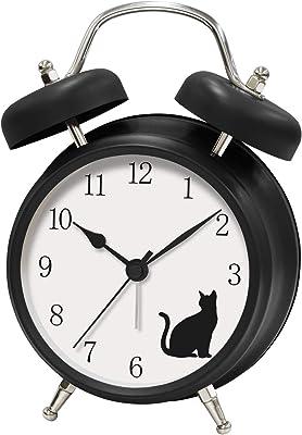誠時 置き時計 マットブラック 20×15×8cm アニマルボイスクロック ネコ アナログ表示 置時計 AC-020