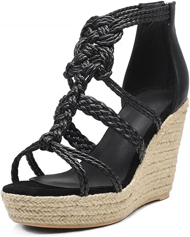Fashion Roman Sandals Women's Summer New Bohemian Platform Sandals Open Toe High-Heeled Wedge Heel Straw Bale Sandals (11cm High) (color   Black, Size   36)