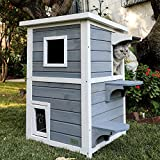 Petsfit Outdoor Cat House, 2 Story Outside Cat Shelter Condo...