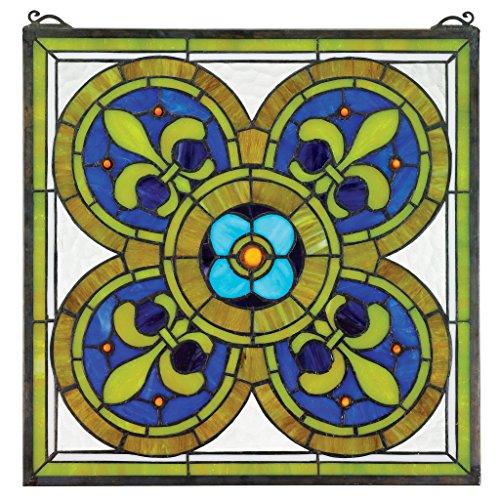 Stained Glass Panel - Fleur de Lis Quatrefoil Stained Glass Window Hangings - Window Treatments