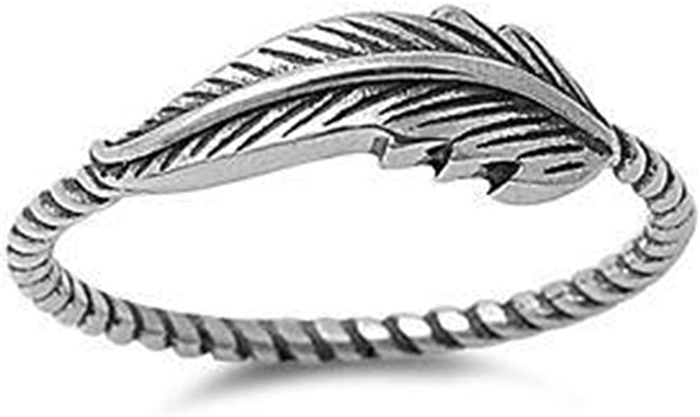 Jude Jewelers Retro Vintage Oxidized Stainless Steel Leaf Braided Twisted Wrap Thumb Ring