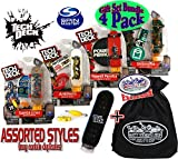 TECH DECK 96mm Individual Fingerboards Gift Set Party Bundle with Bonus Exclusive Matty's Toy Stop Storage Bag - 4 Pack (Assorted Styles)