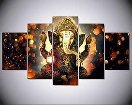 5 Pcs Indian God Ganesh Deity Abstract Canvas - 5 piece Ganpati Bappa Maurya Canvas For Your Home/Office Room (20x35cmx2,20x45cmx2,20x55cmx1)