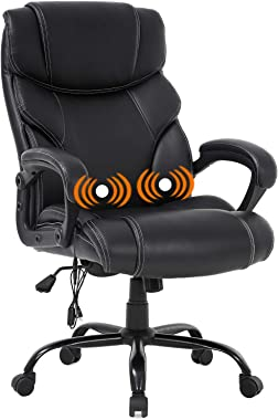 Big and Tall Office Chair 400lbs - Heavy Duty Metal Base Ergonomic Massage Desk Chair with Lumbar Support Arms High Back PU L