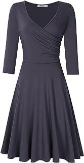 ceba92e1fe958c MISSKY Women's A Line V Neck Long Sleeve Elegant Dress Slim Knee Length  Swing Casual Dress