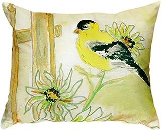 "Betsy Drake NC244 Betsy's Goldfinch No Cord Pillow, 16"" x20"""
