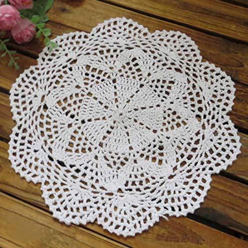 kilofly, Centrino da tavolo in cotone lavorato all'uncinetto, tovagliette a fantasia floreale, confezione da 4, Cotone, bianco, 10 inch white
