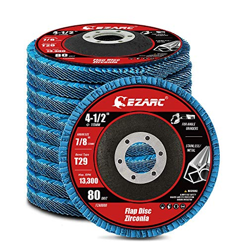 EZARC Flap Disc 115mm 80 Grit Zirconia Grinding Wheel, Abrasive Discs Type 29 for Stainless Steel, Cast Iron and Sheet Metal, 10 Pack