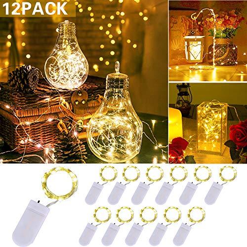 LED Lichterkette Batterie 12 Stück, 2M 20 LEDs Lichterkette Warmweiß String Fairy Light Lichterketten für Innen- und Außendekoration, Party, Garden, Christmas Dekor, Flasche DIY (clear1)