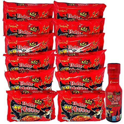 Samyang Fire Noodle - 12er Vorteilspack Ramen mit extra Soße - Extreme Korean Fire Noodle Set - Scharfe Nudeln - 12 statt nur 10 Portionen (12x140g ROT) und 1x Extrem HOT Samyang Soße 200ml (Rot)