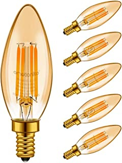 LED Light Bulbs, Emotionlite Dimmable Candelabra Bulbs, E12 Base, Amber Yellowish, Chandelier Light, Ceiling Fan Bulb, 40W Equivalent, 4W, 2200K, 350LM, UL Listed, 6 Pack