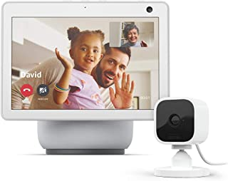 All-new Echo Show 10 (3rd Gen) | Glacier White with Blink Mini Indoor Smart Security Camera, 1080 HD with Motion Detection