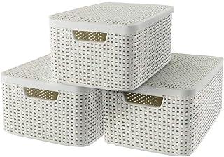 CURVER Lot de 3 Boîtes avec Couvercle - 3 Caisses (3*18L) en Plastique avec un Design Rotin Tressé pour Salle de Bain, Cha...