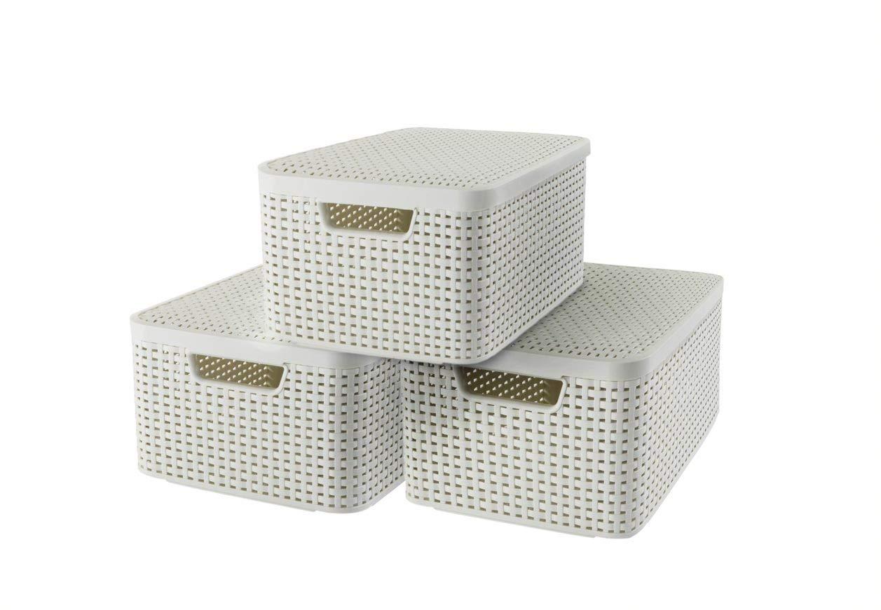 Curver 240654 - Set de 3 cestas Style con tapa, tamaño M, 18 L, color blanco: Amazon.es: Hogar