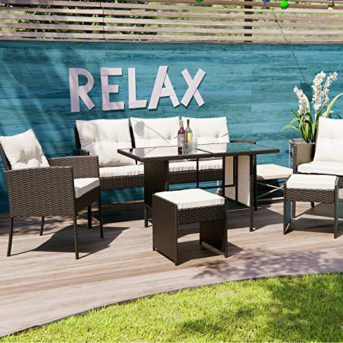Swing & Harmonie Polyrattan Sitzgruppe Esstisch Lounge Sitzgarnitur Essgruppe Gartenmöbel Set (schwarz)