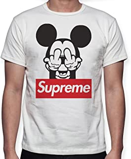 e5f3ff3ee8d4 Beimpress T-Shirt Maglia Mouse Logo - Replica Supreme - Uomo Donna Unisex -  Bianca