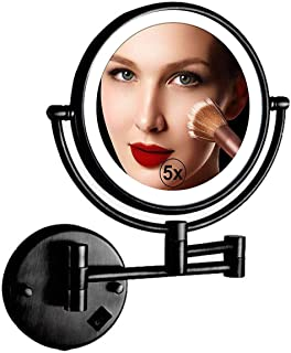 Makeup Mirror LED Wall Mount Makeup Mirror, 5X Magnification Mirror 8-inch Cosmetic Mirror 360°Rotating Extendable Arm Beauty Mirror Personal Vanity Mirror, USB Rechargeable, Black