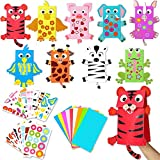 WATINC 9pcs Bricolage Artisanat Marionnettes Papier DIY Craft Puppets Kit pour Enfants Artisanat Jouets Chaussette Marionnette Jeu de Rôle Fournitures Storytelling Jeux Faveurs de fête d'anniversaire