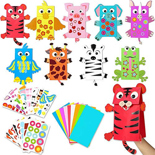 WATINC - Lote de 9 piezas de manualidades para niños, artesanía, juguetes, calcetín, marioneta, juego de rol, suministros Storytelling juegos de fiesta de cumpleaños