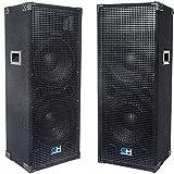 Grindhouse Speakers - GH212L-Pair - Pair of Passive Dual 12 Inch 2-Way PA/DJ Loudspeaker Cabinets - 1250 Watt each Full Range PA/DJ Band Live Sound Speaker