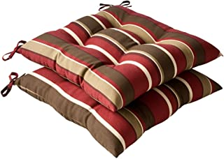 Pillow Perfect Indoor/Outdoor Red/Brown Striped Tufted Seat Cushion, 2-Pack