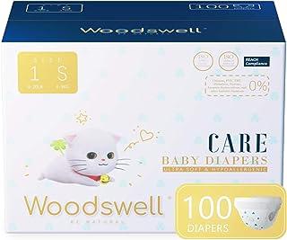 پوشک بچه Woodswell Care (اندازه 1 ، 100 عدد) - ضد حساسیت ، محافظت در برابر دو نشت ، فوق العاده نرم ، فوق العاده جاذب ، لایه پارچه ای خوراکی