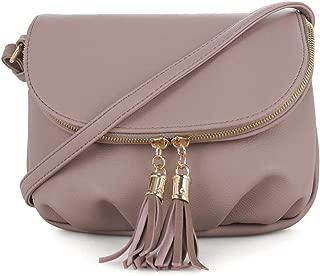 Women's Small Front Flap Messenger Crossbody Bag Zipper Clossure with Tassel