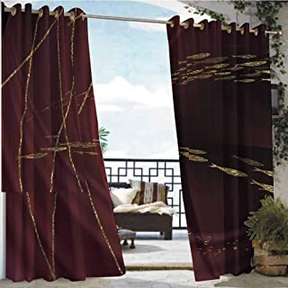 Andrea Sam Outdoor- Free Standing Outdoor Privacy Curtain High Angle View on Plane Thailand at Night,W72 xL96 Outdoor Curtain Waterproof Rustproof Grommet Drape
