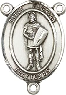 Sterling Silver Catholic Patron Saint Rosary Centerpiece Medal, 3/4 Inch