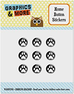Paw Print Dog Cat White on Black Set of 9 Puffy Bubble Home Button Stickers Fit Apple iPod Touch, iPad Air Mini, iPhone 5/5c/5s 6/6s 7/7s Plus