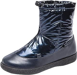 SUNyongsh Winter Women's Ladies Boots Waterproof Warm Zip Short Snow Bootie Shoes Waterproof Outdoor Comfortable Booties