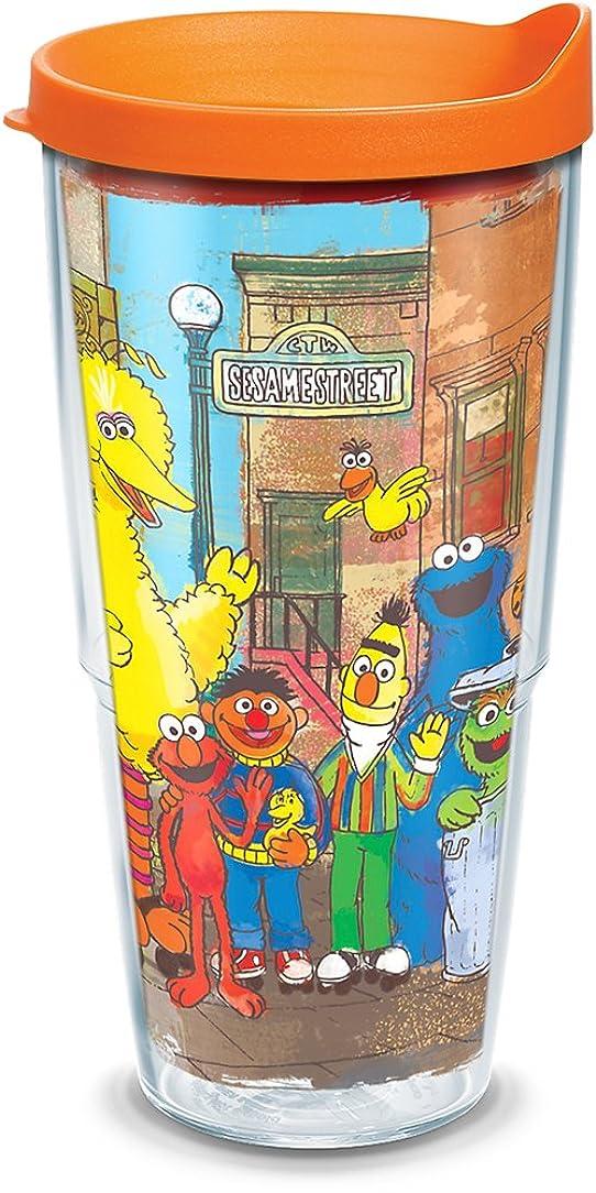 挨拶ムスタチオ理容室Tervis 1300738?Sesame street-originalグループInsulated Tumbler withラップとオレンジ蓋、24oz、クリア
