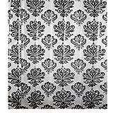 PAPILLON–Cortina de Ducha, Color Blanco y Negro Barroco, 0,1x 180x 180cm