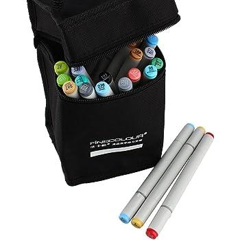 Rotuladores Doble Marcadores Arte bolígrafos del Bosquejo + Negro Estuche Bolsa para Pintura ilustraciones Resaltado y Subrayado Brushwork Arte Marcadores (24 colores): Amazon.es: Oficina y papelería