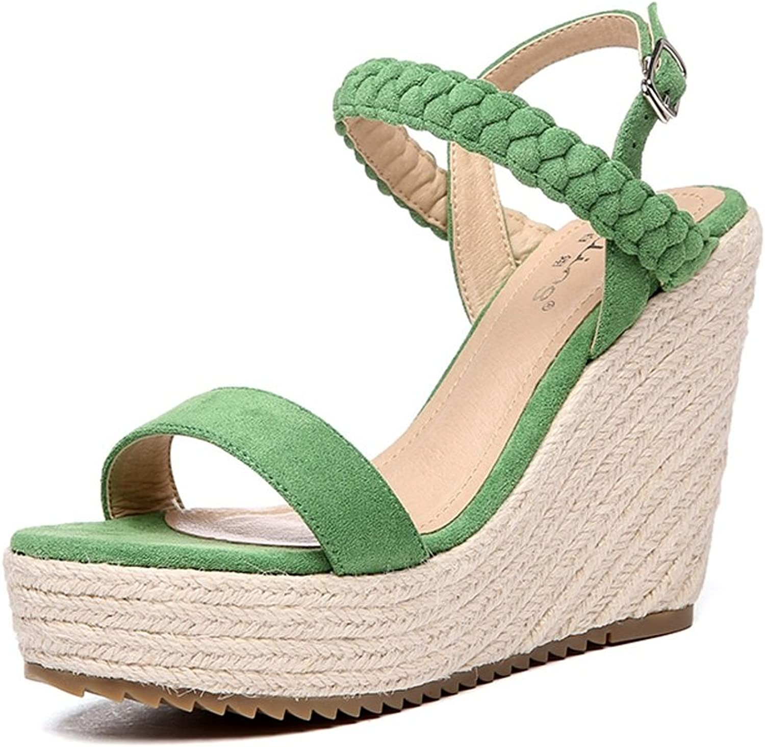 Rainbow high heels Summer Fashion shoes with Green Waterproof Knitting Green Sandals