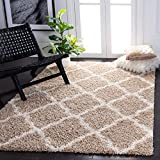 SAFAVIEH Dallas Shag Collection SGD257D Trellis Non-Shedding Living Room Bedroom Dining Room Entryway Plush 1.5-inch Thick Area Rug, 6' x 9', Beige / Ivory