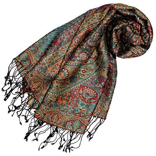 Lorenzo Cana - Luxus Pashmina Damenschal Schaltuch aus Seide und Wolle 70 x 190 cm Paisley Muster Schaltuch Stola Umschlagtuch gewebt 78118