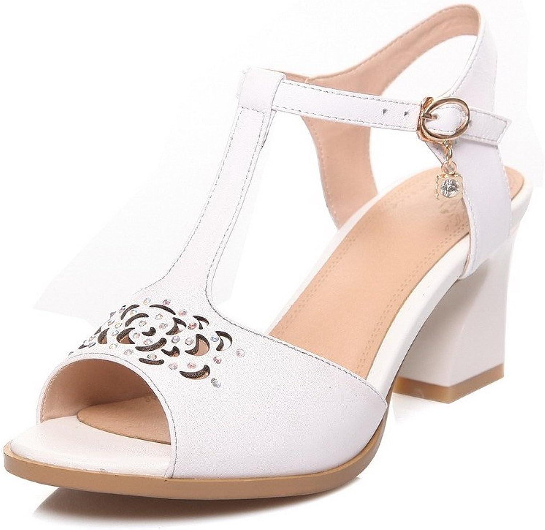 WeenFashion Women's Buckle Kitten-Heels Cow Leather Solid Peep Toe Sandals