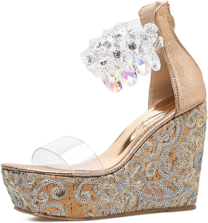 MEIZOKEN Womens Shiny Rhinestone Wedges Sandals Ankle Strap Back Zipper Transparent Peep Toe High Heels Platform shoes