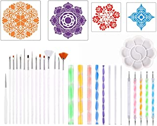 Mandala Dotting Tools,Liwein 33 Pieces Rock Painting Kit for Polymer Clay Pottery Craft Nail Art Tools with Mandala Stenci...