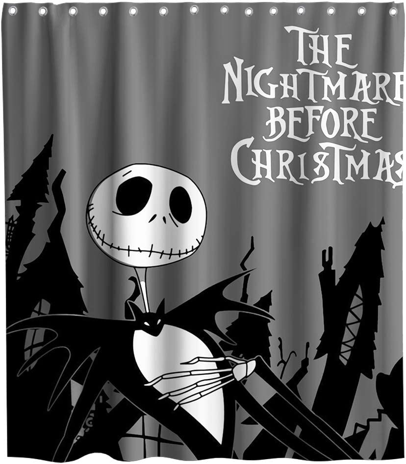 Nightmare Before Christmas Moonlight Madness Theme Fabric Happy Halloween Shower Curtain Sets Kids Bathroom Halloween Decor with Hooks Waterproof Washable 70 x 70 inches Black and White
