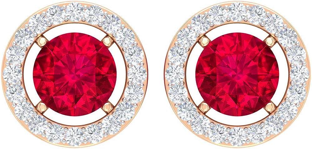 Ruby and Superlatite Purchase Diamond Stud Earring Halo Earrings Gold