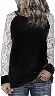 f3522e6d2f65f OrchidAmor Girls Fashion Womens Casual Lace Long Sleeve Crop O-Neck  Pullover T-Shirt