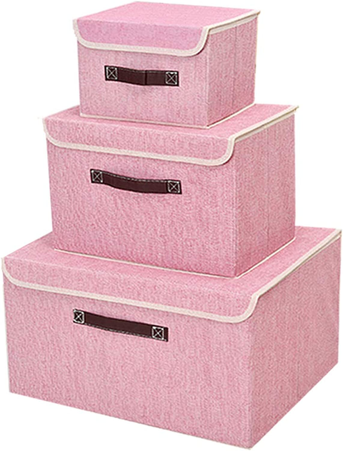 Pemalin Storage Bins Foldable Fabric Box- 3 Pack Shelf Linen Storage Cubes with Lid and Handle for Home Bedroom Closet Nursery Office(Pink)