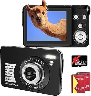 Digitalkamera 48MP 2.7K Fotoapparat Digitalkamera 16X Digital Zoom 2,7 Zoll TFT LCD Kompaktkamera mit 32 GB SD-Karte und 2 Batterien (Schwarz)