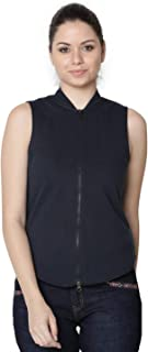 RUTE Women's Fleece Black Sleeveless Sweatshirt with Plus Size with Plus Size (2XS to 10XL)
