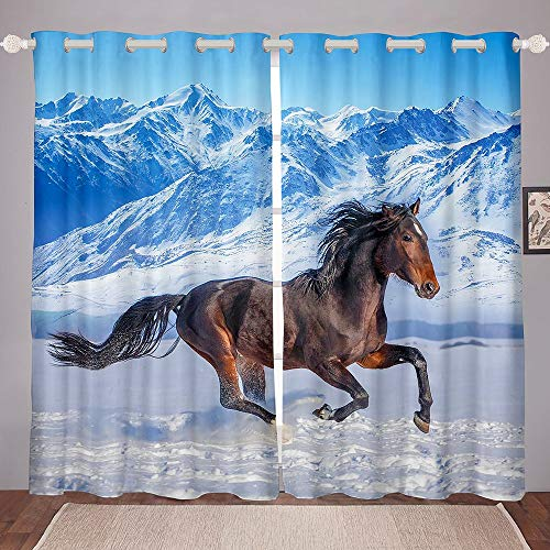 Running Horse Window Drapes, Snow Mountain Natural Landscape Curtains, Animal Theme Home Decor Window Curtain Panels, Modern Kid Teen Boy Man Window Drapes for Bedroom 46'X72'